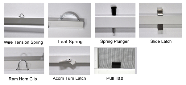 Window Screen Hardware for Windows with Tracks